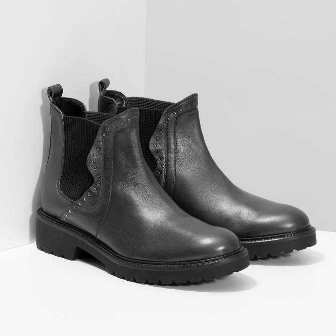 Kožená dámska Chelsea obuv s kovovými cvočkami bata, šedá, 596-9734 - 26