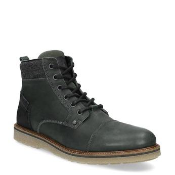Zelená kožená členková pánska obuv bata, zelená, 896-7669 - 13