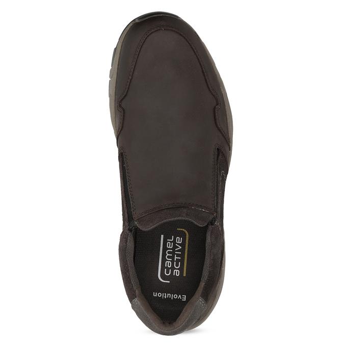 Pánska hnedá kožená obuv s pružením camel-active, hnedá, 826-4091 - 17
