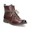 Kožená dámska členková obuv so zateplením bata, červená, 596-5702 - 13