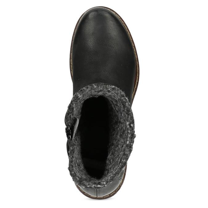 Kožené dámske zimné čižmy so zateplením bata, čierna, 596-6703 - 17