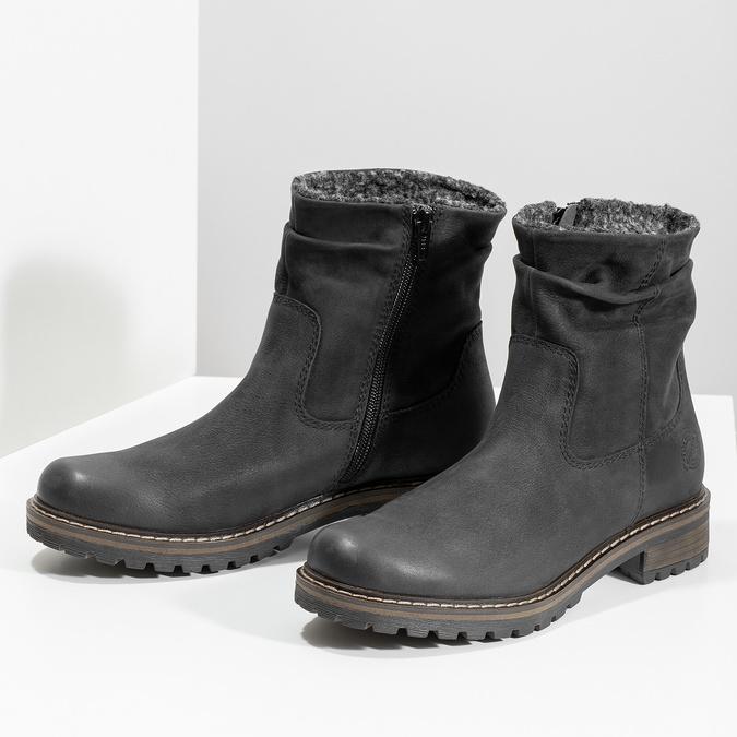 Kožené dámske zimné čižmy so zateplením bata, čierna, 596-6703 - 16