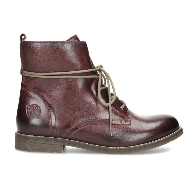 Kožená dámska členková obuv so zateplením bata, červená, 596-5702 - 19
