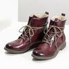 Kožená dámska členková obuv so zateplením bata, červená, 596-5702 - 16