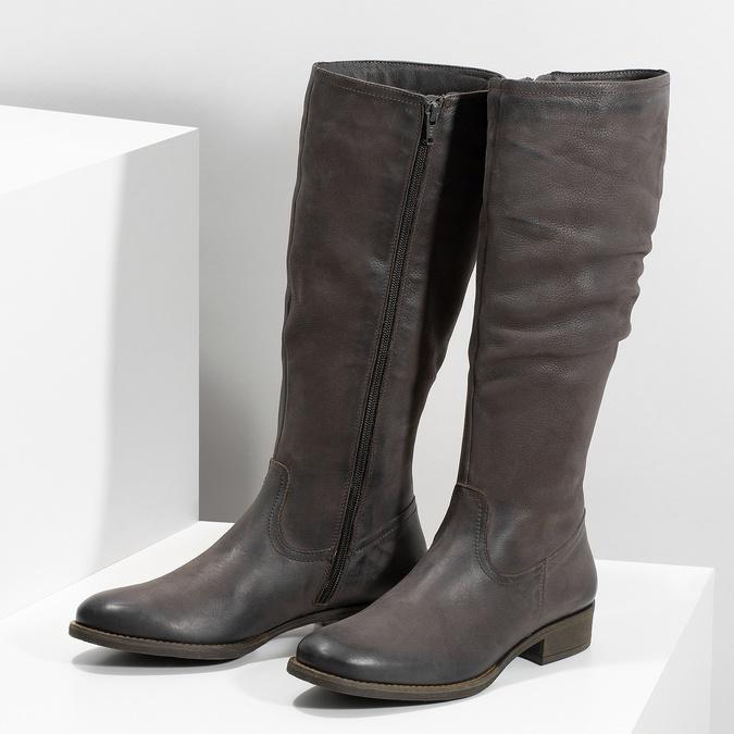 Kožené hnedé čižmy s prešitím bata, hnedá, 596-4700 - 16
