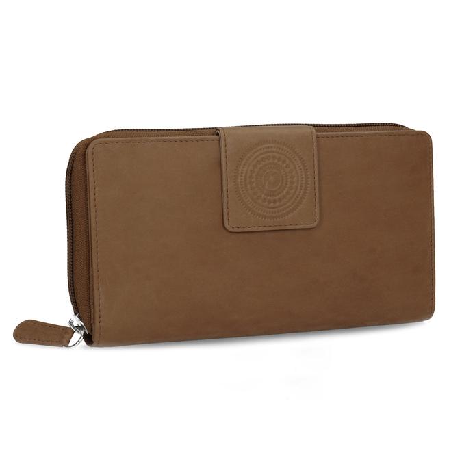 Kožená dámska peňaženka s ornamentom bata, hnedá, 944-4615 - 13
