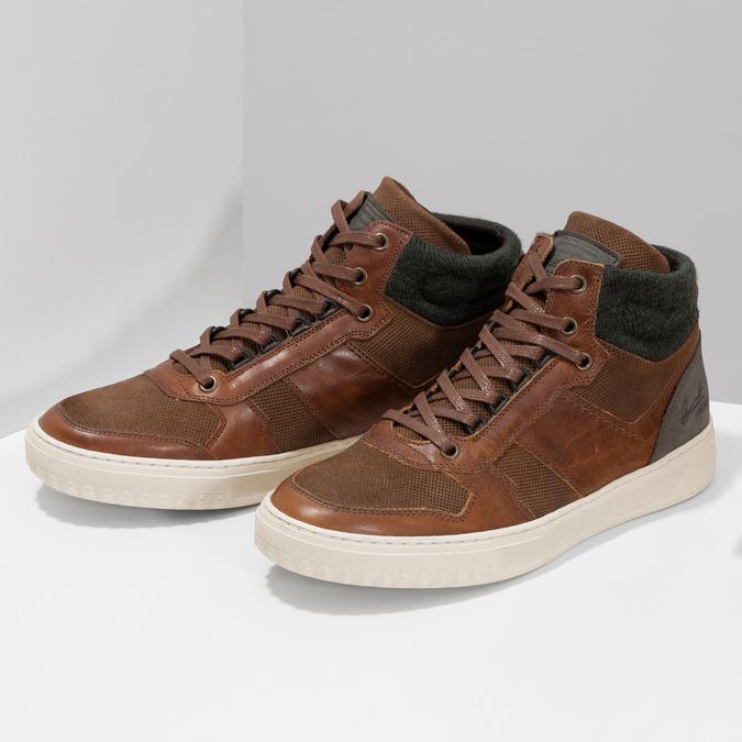 Hnedé členkové kožené tenisky bata, hnedá, 846-3722 - 16