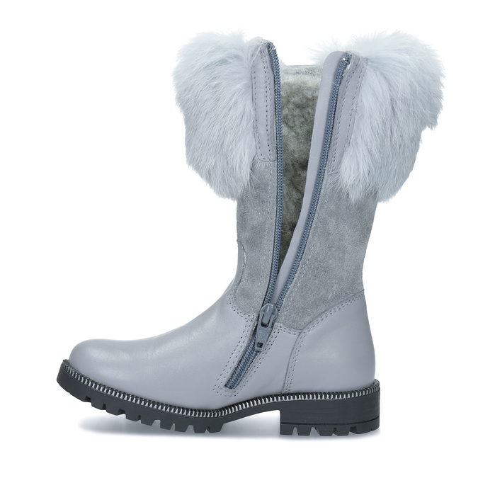 Detské kožené zimné čižmy s kožúškom mini-b, šedá, 394-2202 - 17