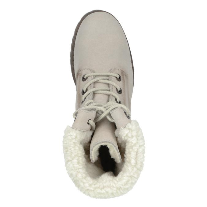 Kožená zimná obuv s kožúškom weinbrenner, béžová, 696-3336 - 17