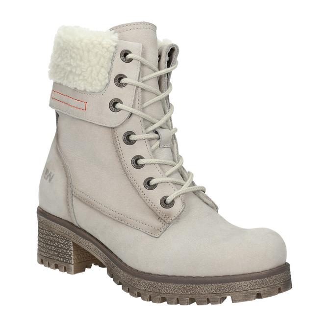 Kožená zimná obuv s kožúškom weinbrenner, béžová, 696-3336 - 13