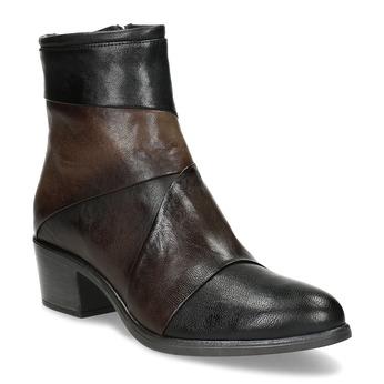 Hnedé kožené členkové čižmy s prešitím bata, hnedá, 696-2653 - 13