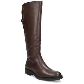 Kožené hnedé čižmy s prackou bata, hnedá, 594-3678 - 13