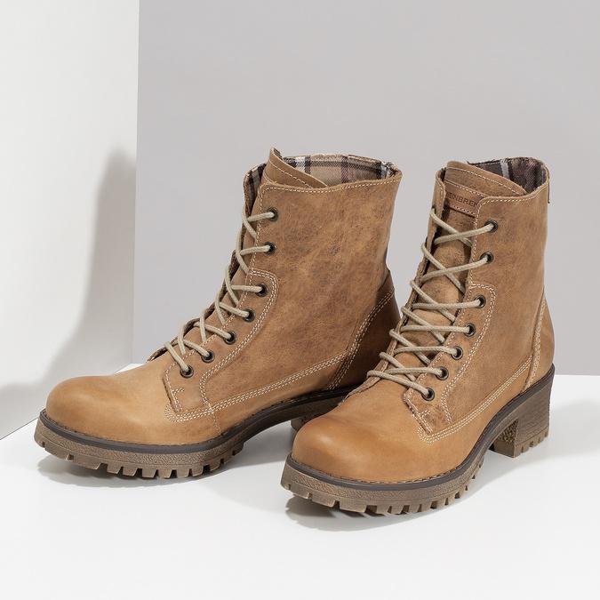 Dámska hnedá kožená členková obuv weinbrenner, hnedá, 696-3668 - 16