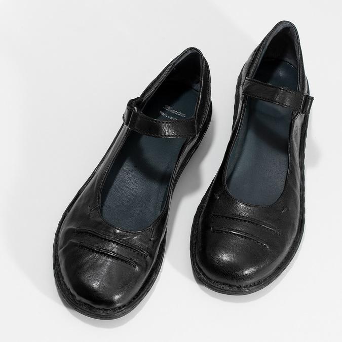 Kožené čierne baleríny s remienkom bata, čierna, 526-6664 - 16