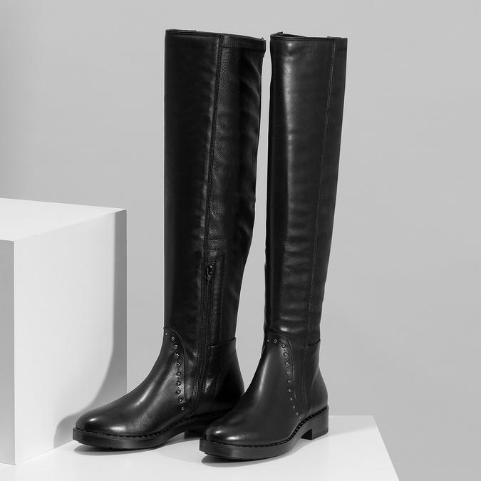 Čierne kožené čižmy s kovovými cvokmi bata, čierna, 596-6725 - 16
