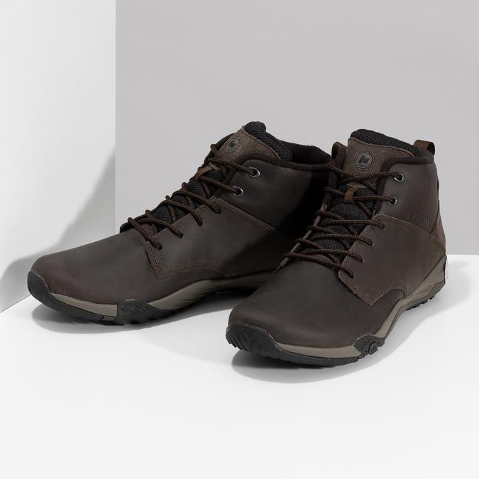 Členková hnedá kožená pánska obuv merrell, hnedá, 806-4102 - 16
