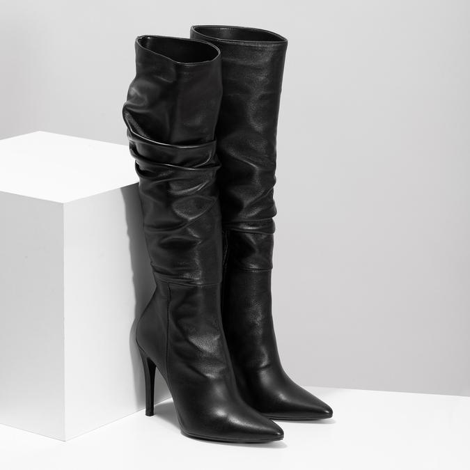 Kožené čierne čižmy na ihličkovom podpätku bata, čierna, 794-6665 - 26
