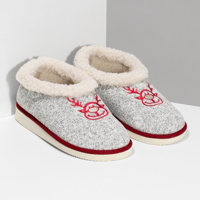 Dámska domáca obuv so zateplením bata, šedá, 579-2640 - 26