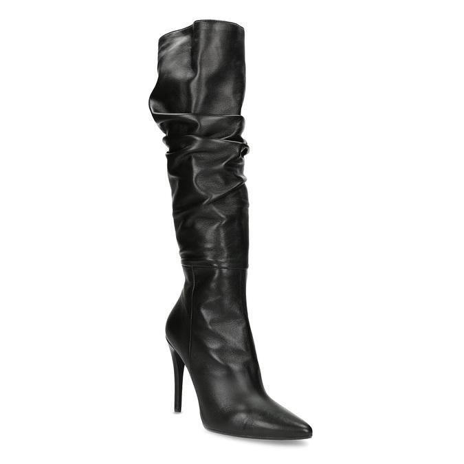 Kožené čierne čižmy na ihličkovom podpätku bata, čierna, 794-6665 - 13