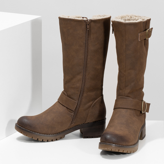 Dámske hnedé čižmy s prackami bata, hnedá, 691-4643 - 16