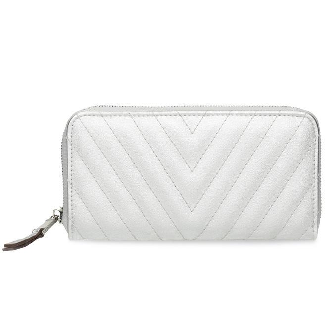 Strieborná prešívaná peňaženka bata, strieborná, 941-1218 - 26