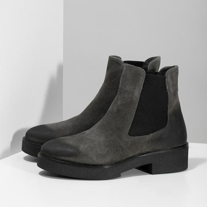 Šedá dámska kožená Chelsea obuv bata, šedá, 593-2617 - 16