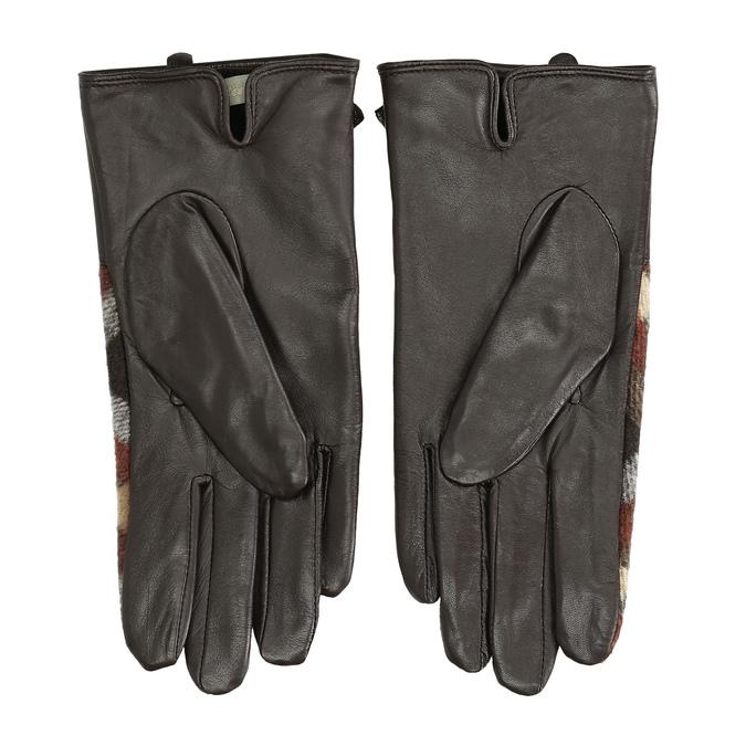 Dámske kožené hnedé kárované rukavice bata, hnedá, 904-4138 - 16