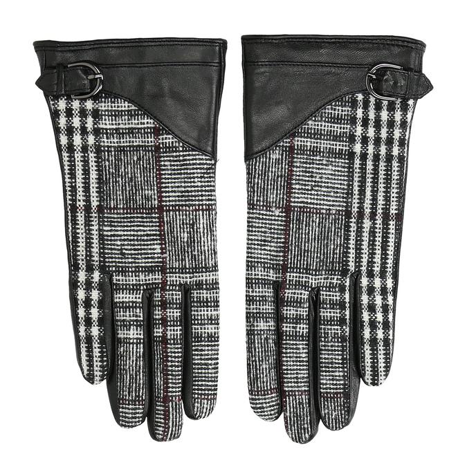 Dámske kožené čierne rukavice kárované bata, čierna, 904-6138 - 26