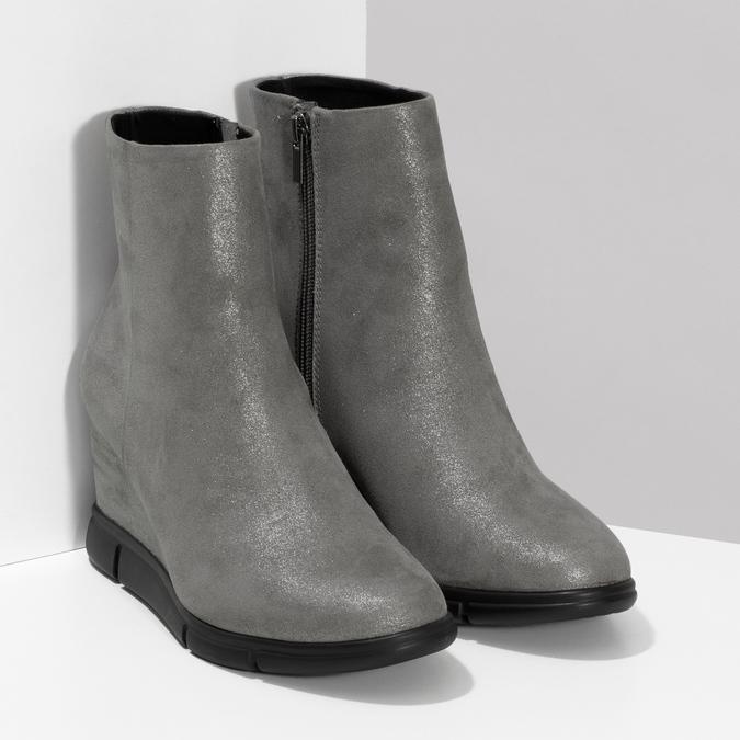 Dámska členková obuv na kline strieborná bata-b-flex, strieborná, 799-2642 - 26