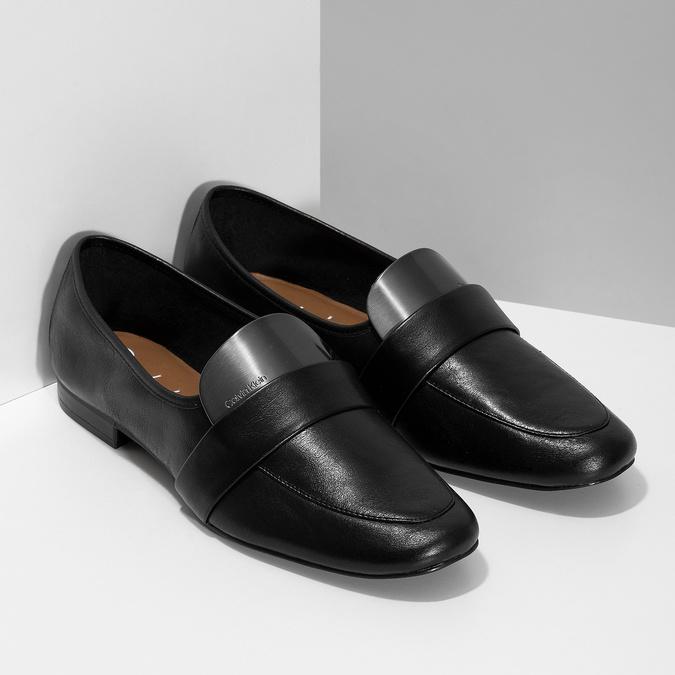 Kožené dámske čierne mokasíny calvin-klein, čierna, 514-6075 - 26