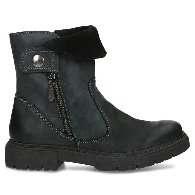 Dámska kožená zimná obuv s prešitím weinbrenner, čierna, 596-6751 - 19