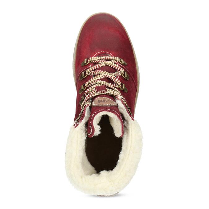 Kožená vínová dámska členková obuv weinbrenner, červená, 596-5756 - 17