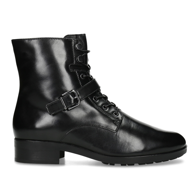 Dámska kožená členková obuv s vysokým šnurovaním hogl, čierna, 524-6064 - 19