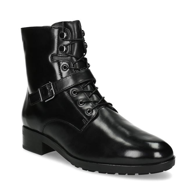 Dámska kožená členková obuv s vysokým šnurovaním hogl, čierna, 524-6064 - 13
