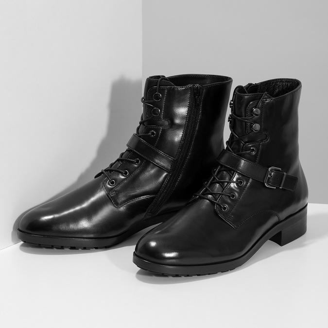 Dámska kožená členková obuv s vysokým šnurovaním hogl, čierna, 524-6064 - 16