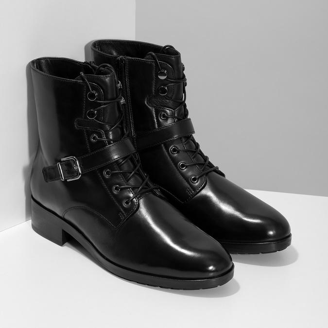 Dámska kožená členková obuv s vysokým šnurovaním hogl, čierna, 524-6064 - 26