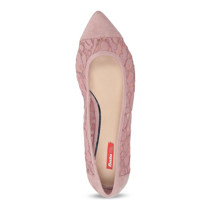 Ružové čipkované baleríny do špičky bata-red-label, ružová, 529-8643 - 17