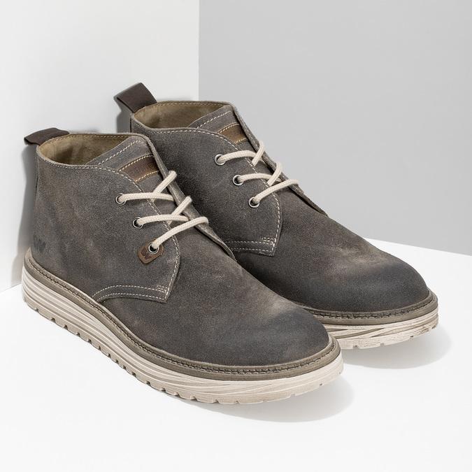 Pánska členková obuv z brúsenej kože weinbrenner, šedá, 896-2735 - 26
