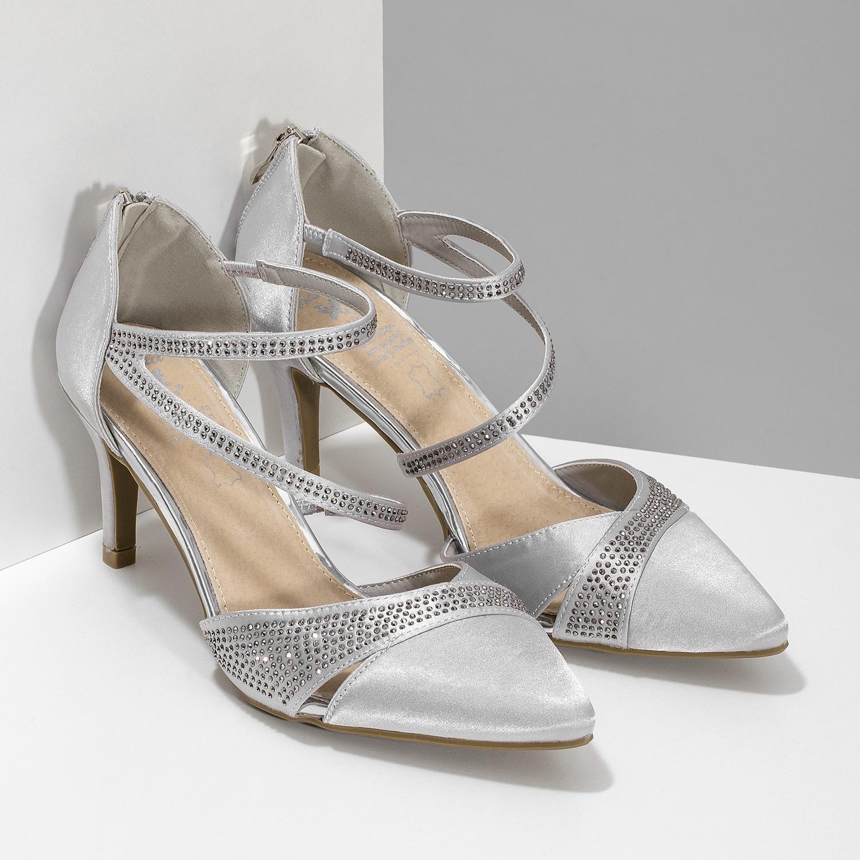 1aa0d55d7 ... Strieborné dámske sandále na ihličkovom podpätku insolia, strieborná,  729-1634 - 26 ...