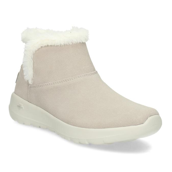 Kožená zimná obuv s kožúškom béžová skechers, béžová, 503-8124 - 13