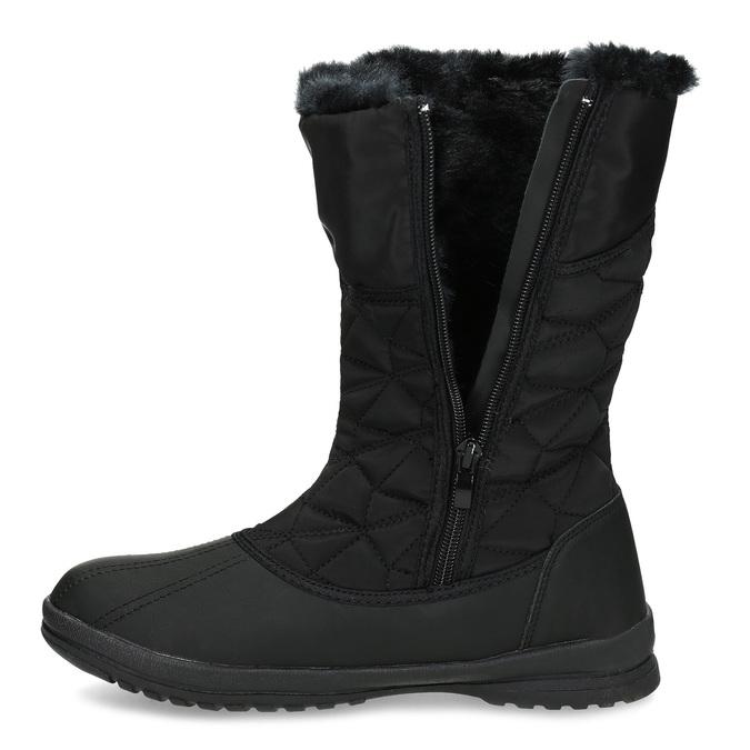 Dámska čierna zimná obuv s prešívaním bata, čierna, 599-6624 - 17