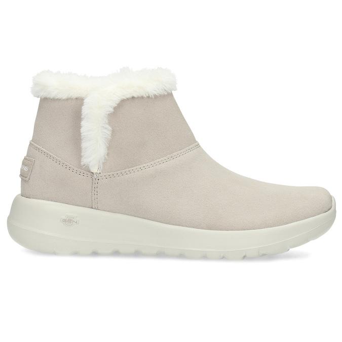 Kožená zimná obuv s kožúškom béžová skechers, béžová, 503-8124 - 19