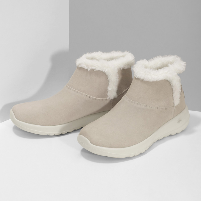 Kožená zimná obuv s kožúškom béžová skechers, béžová, 503-8124 - 16