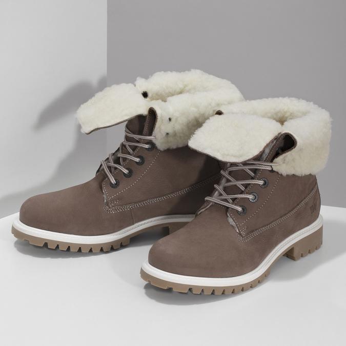 Hnedá dámska kožená zimná obuv weinbrenner, hnedá, 596-4727 - 16