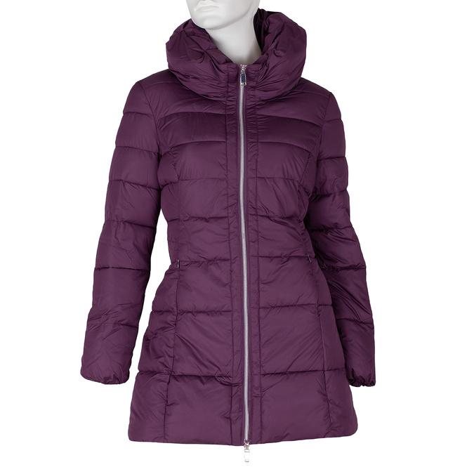 Dlhá dámska fialová bunda s prešitím bata, fialová, 979-0348 - 13