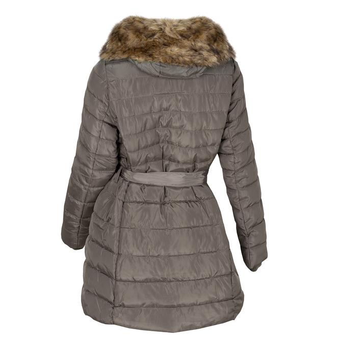 Dámska khaki bunda s prešívaním a kožúškom bata, hnedá, 979-8325 - 26