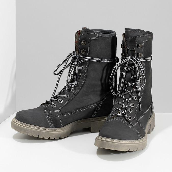 Kožená dámska vysoká obuv weinbrenner, šedá, 596-2746 - 16