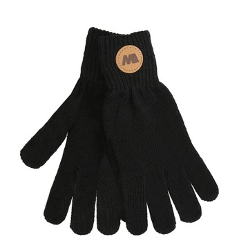 Čierne rukavice s hnedým logom weinbrenner, čierna, 909-6734 - 13