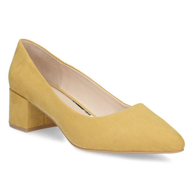 Žlté dámske lodičky na stabilnom podpätku bata-red-label, žltá, 629-8655 - 13