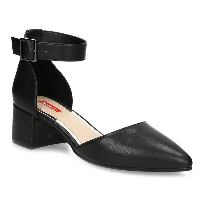 Čierne dámske lodičky na nízkom podpätku bata-red-label, čierna, 621-6654 - 13